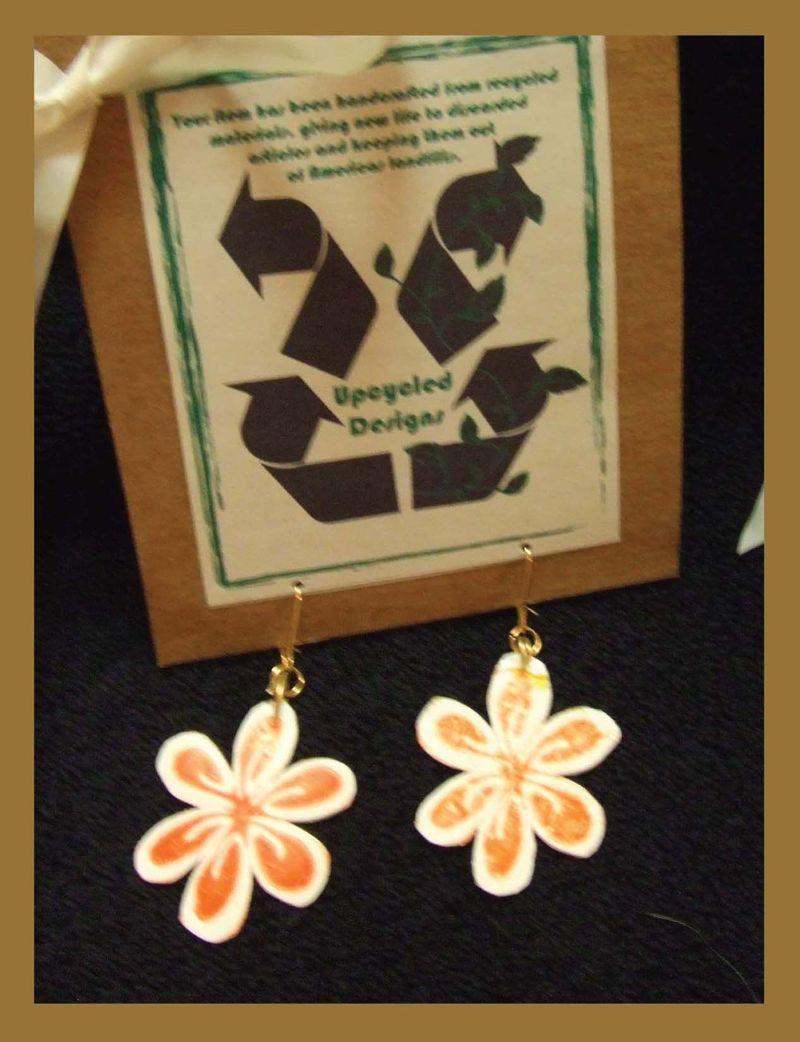 Upcyled plastic bag fused plastic earrings 2