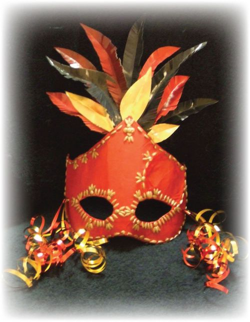 Upcycled Red Mardi Gras Mask