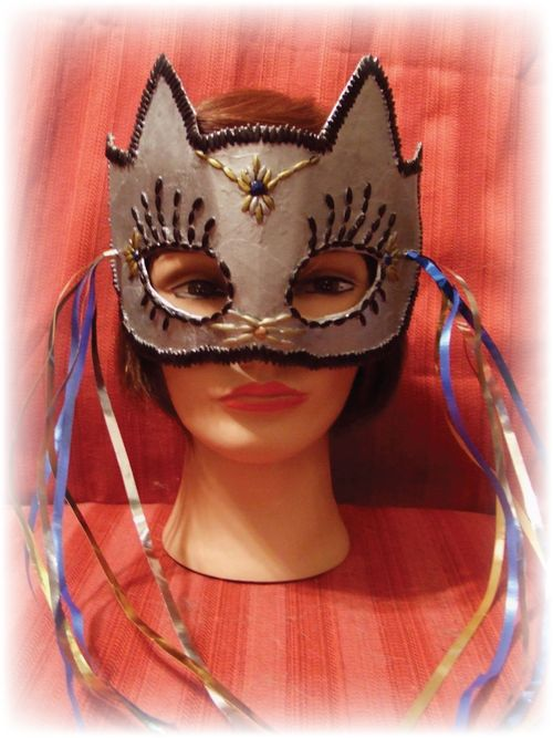 Upcycled Silver Cat Mask