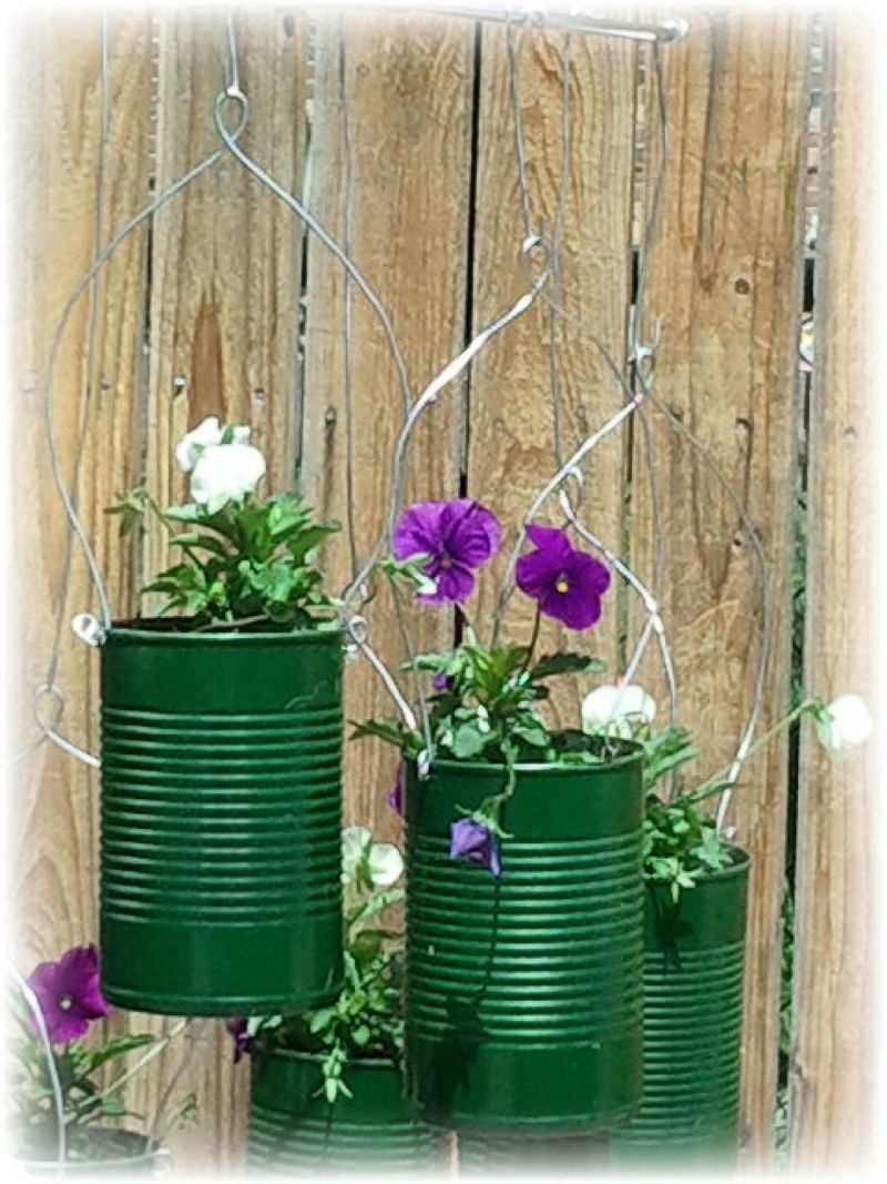 Upcycled Tin Can Flower Pots - B
