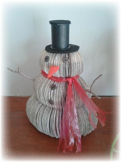 Upcycled book snowman 2