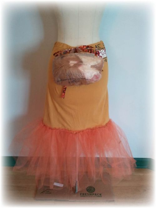 Upcycled T-shirt Petticoat and Plastic Bag Bustle