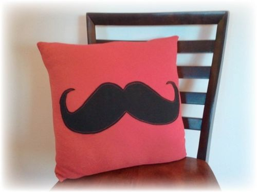 Upcycled T-shirt Mustache Pillow