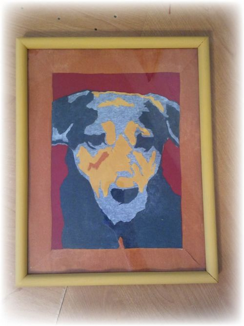 Upcycled T-shirt Abstract Art Dog framed