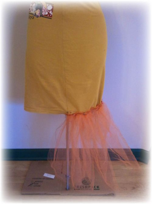 Upcycled T-shirt Petticoat and Plastic Bag Bustle Step 8