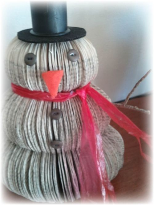 Upcycled book snowman 1