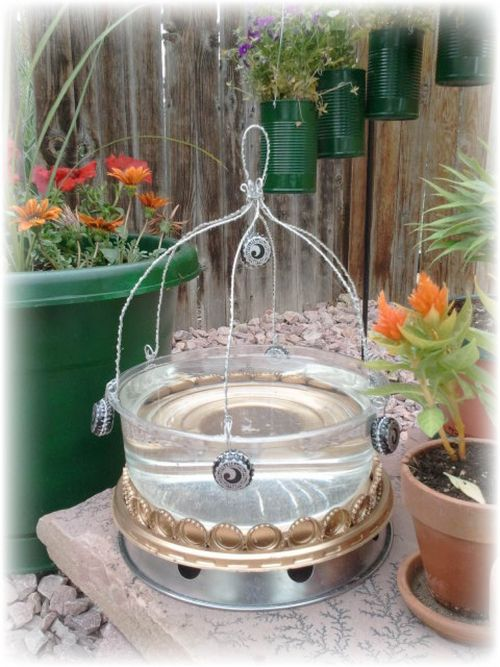Upcycled Plastic Cake Dish Bird Bath