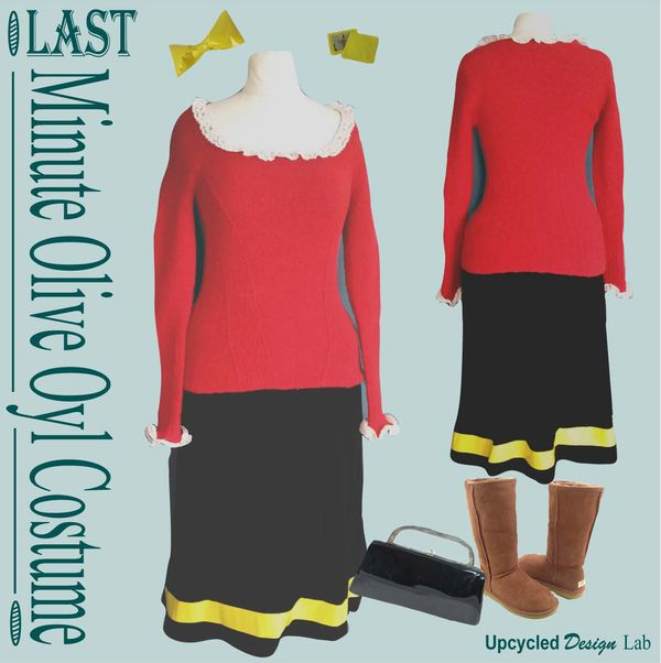 Upcycled design lab blog easy last minute upcycled olive oyl upcycled design lab blog easy last minute upcycled olive oyl halloween costume diy solutioingenieria Image collections