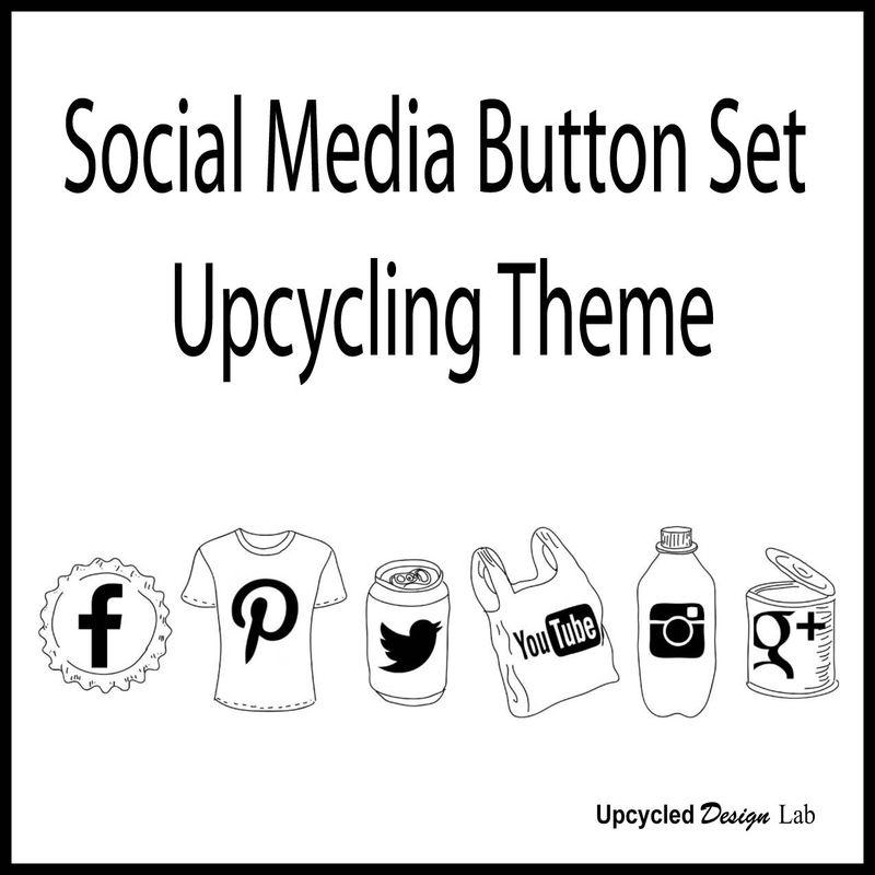 Social Media Button Set - Upcycling Theme