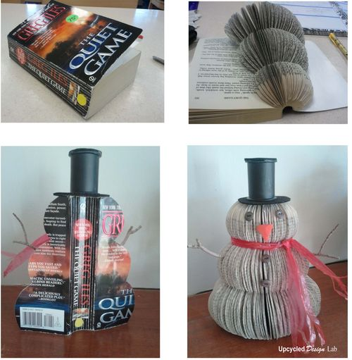 Book Snowman - Altered Book - Upcycled Books