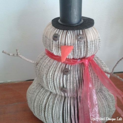 Upcycled book snowman 7