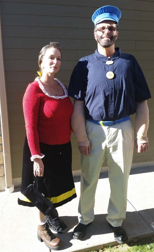 Upcycled Olive Oyl and Brutus Costumes