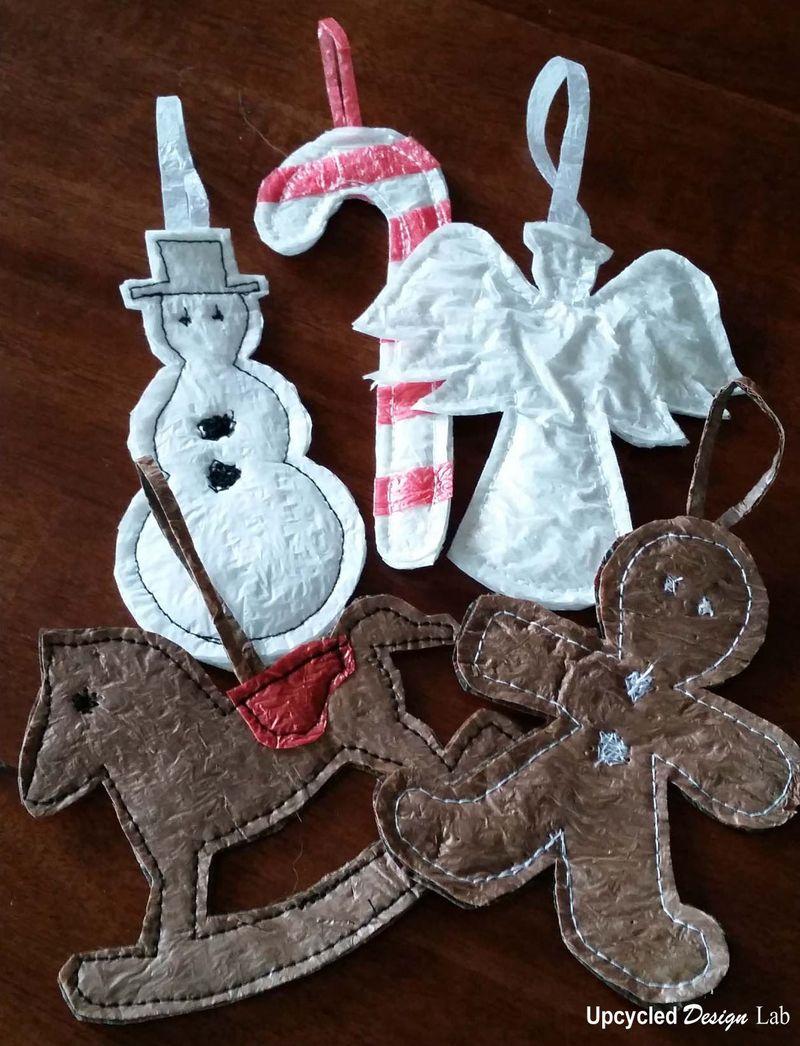 Upcycled plastic bag Christmas Ornaments