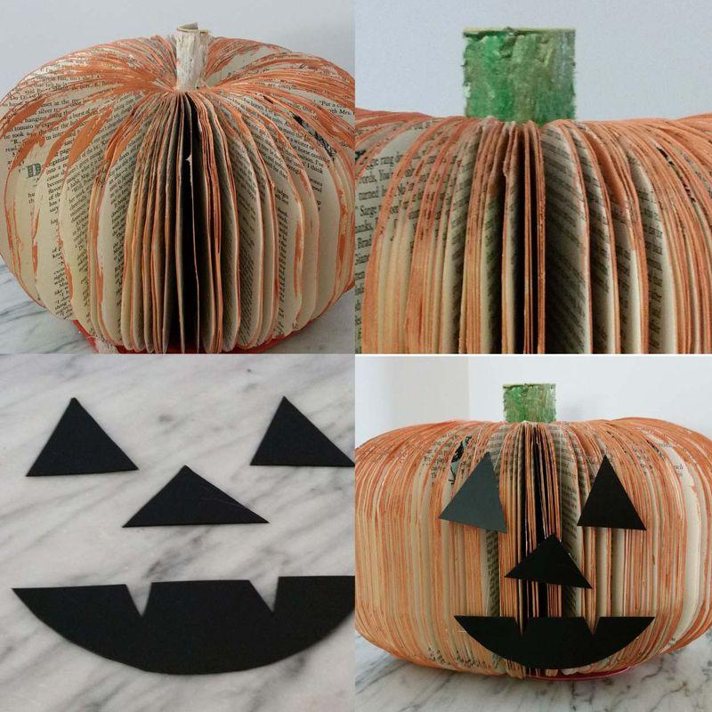 Upcycled Book Pumpkin Jack-o-Lantern 2