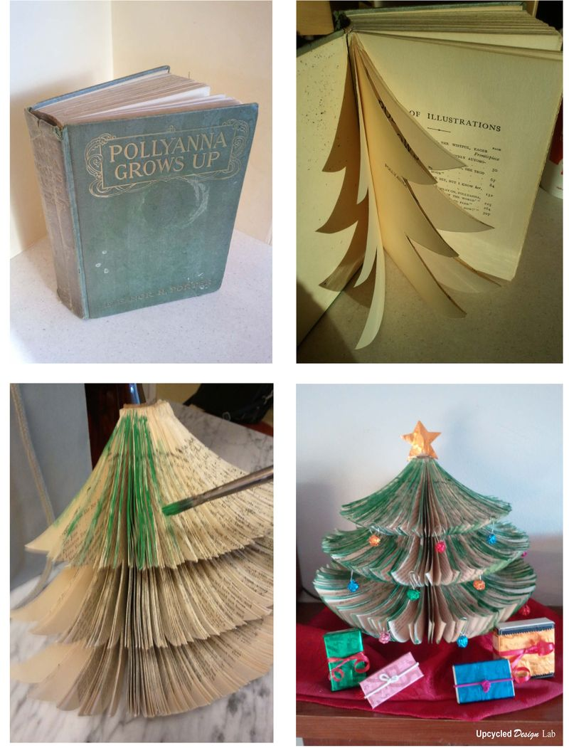 Book Christmas Tree - Altered Book - Upcycled Books