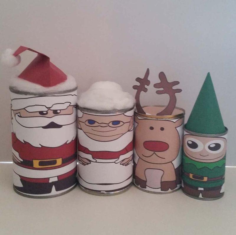 Tin Can Nesting Dolls Christmas