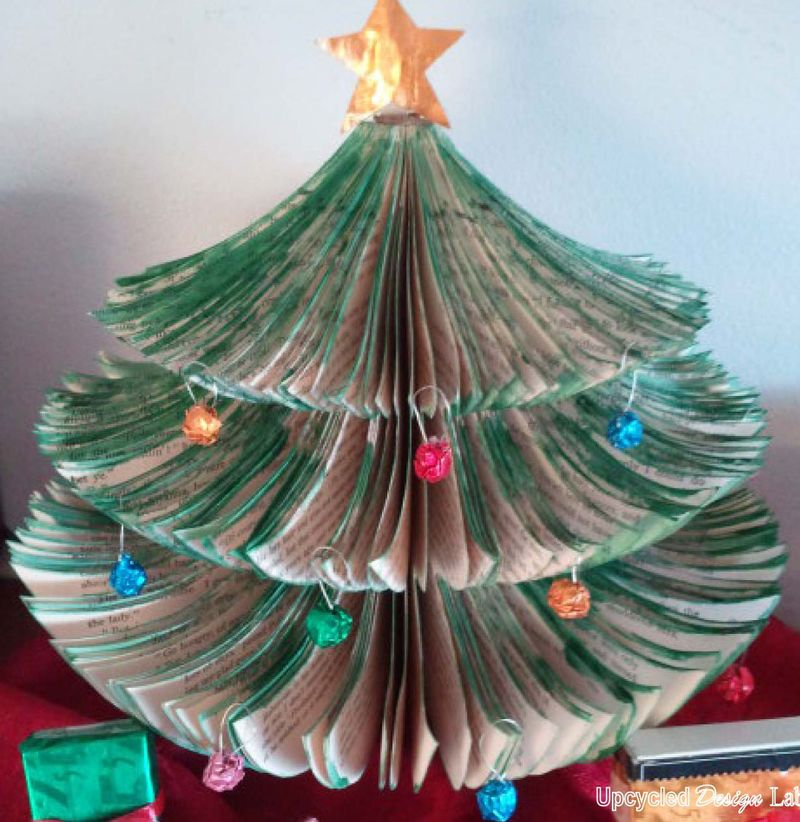 Upcycled Book Christmas Tree Sterp 8