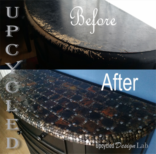 Tin Can Table Top Before and After